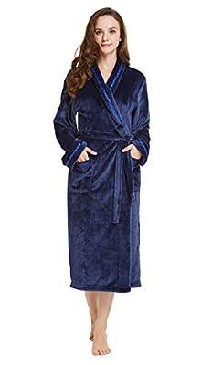 TIMSOPHIA Women Plush Fleece Robe with Satin Trim, Luxurious Super Soft Plush Bathrobe for Women