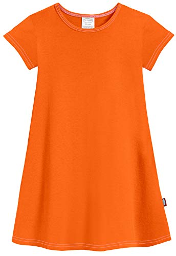 City Threads Baby Girls' Cotton Short Sleeve Cover Up Dress for Sensitive Skin SPD Sensory Friendly, Orange, 12/18m ()