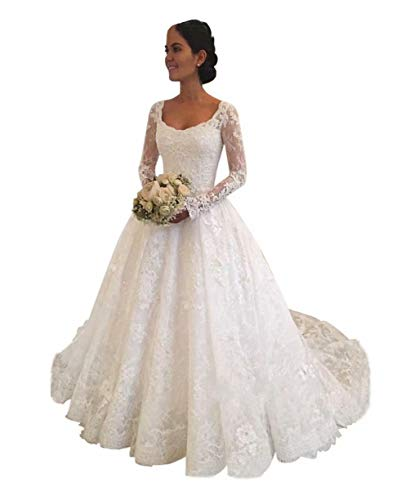 XJLY Princess Long Sleeve Empire Waist Lace Wedding Dresses Birdal Gown