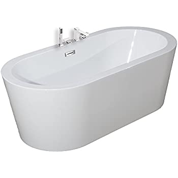 freestanding tub with jets. Woodbridge Freestanding Bathtub  100 Acrylic Bath Tub High Glossy White with Brushed Nickel Overflow B 0002 Jetted Massage Hydrotherapy Indoor Whirlpool