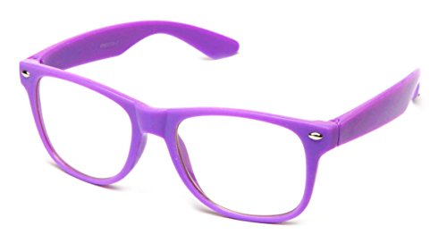 Newbee Fashion - 80's Classic Blue Brothers Clear Lens Pastel/Neon Colored Wayfarer Styles Vintage Retro - Purple Glasses Square