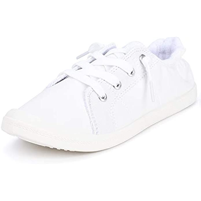 Sowift Women's Fashion Low Top Canvas Sneaker Slip On Comfort Shoes Casual Shoes Walking Flats