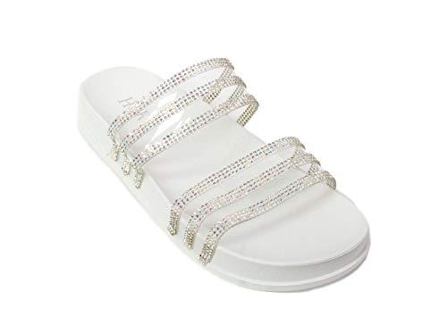 (H2K Women's Glitter Crystal Rhinestone Slip On Flatform Open Toe Buckle Strap Slide Sandals (5 M US, White))