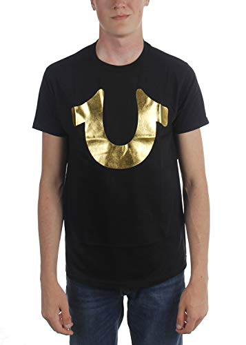 - True Religion Men's Metallic Foil Horseshoe Tee T-Shirt (Small, Black/Gold)
