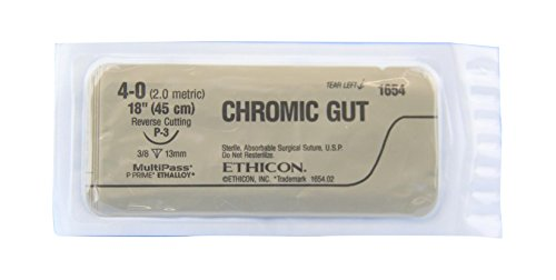 Ethicon 1654G Chromic Absorbable Surgical Gut Suture for P-3 Needle, Single Armed, 18