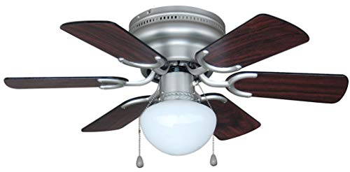 - Hardware House 17-4725 Arcadia 30-Inch Satin Nickel Flush Mount Hugger Ceiling Fan, Black or Cherry Blades