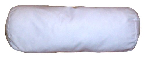 - 8x18 Inch White Cotton-Blend Zippered Bolster Cylindrical Pillow Cover
