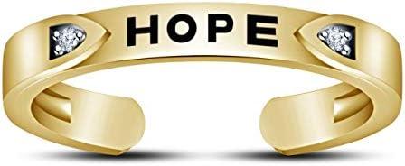 TVS-JEWELS Toe Rings White CZ 925 Silver 14K Gold Plated Hope Toe Ring Adjustable Elegant Design