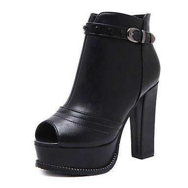 amp;xuezi Hebilla Mujer Otoño Botas Vestido 12 el black Semicuero 10 Tacón Casual GLL Botas Cremallera hasta Robusto cms Negro Tobillo dPq5Pfw