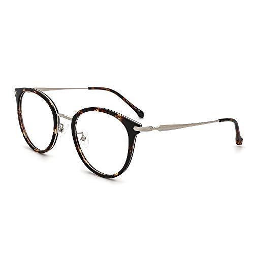 (OQ CLUB Oversized Retro Round Blue Light Glasses Metal Optical Eyewear Non Prescription Eyeglasses Frame for Women Men(Tortoise))