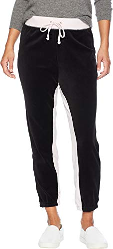 Juicy Couture Women's Velour Color Blocked Silverlake Joggers Peekaboo Pitch Black Medium 27