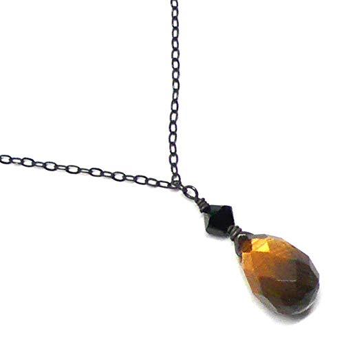 - Tiger Eye Briolette Dainty Chain Sterling Silver Custom