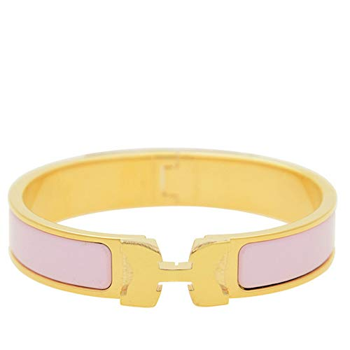 12MM H Buckle Bangle Bracelets for Women Gold Pink