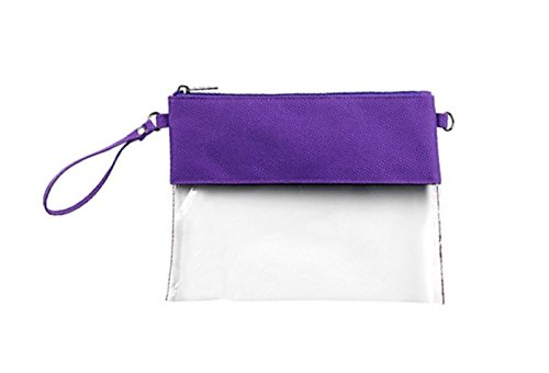 MONOBLANKS Clear Zip Pouch with Detachable Crossbody Adjustable Strap and Wristlet (Purple) by MONOBLANKS (Image #6)