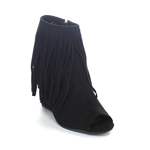 ADIRANA DONYA-101 Women's Peep Toe Fringe Wedges Heel Ankle Booties