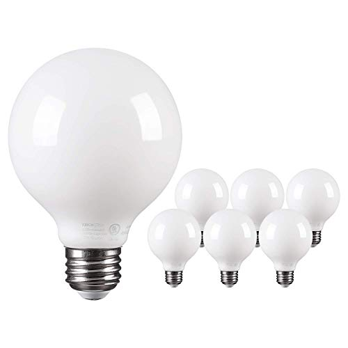 TORCHSTAR LED Dimmable Frosted Filament G25 Light Bulb, 4.5W (60W Eqv.) Omni Directional Lighting Globe Bulb, UL-Listed, 2700K Soft White, 500lm, E26 Base, 2 Years Warranty, Pack of 6 - Led Frosted Bulb