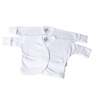 Baby 2pk Long Sleeve Wrap Over Vest With Scratch Mitts Nb White