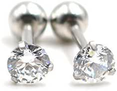 16g Cubic Zirconia 3mm Stone Ear Cartilage Studs Barbell Piercing Earrings 1/4