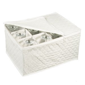 4 X Stemware Storage Chest for Up to 12 Glasses, White