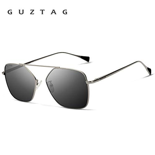 Steel Polarized Gray Mirror - GUZTAG Stainless Steel Square Men/Women Polarized Mirror UV400 Sun Glasses Eyewear Sunglasses for Men G8088 (Gray & Gray)