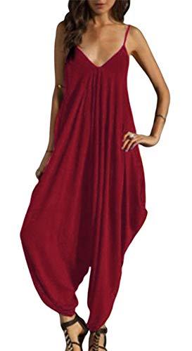 Smile Fish Women's Strappy Baggy Harem Jumpsuit Ankle Length Legged Sleveless Playsuit