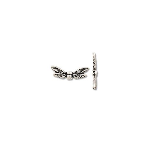 Bead Dragonfly Wings 20x6mm Pewter Silver Plated (1-Pc)