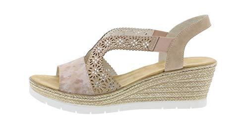 Mujer altrosa Cuña 61916 cómodo Sandalias Rieker plana 31 Rosa zapatos Verano Del De OBq65xR