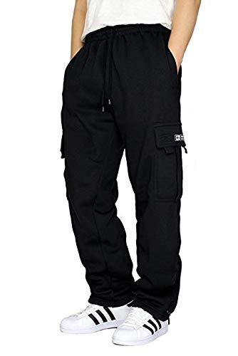DREAM USA Men's Heavyweight Fleece Cargo Sweatpants, Black, Large