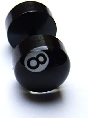 Fake Plug negro ocho 8 bola de billar oreja acero studs: Amazon.es ...