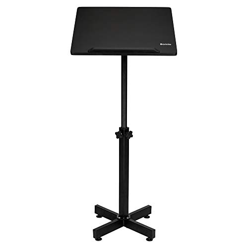 Bonnlo Classic Lectern Stand, Height Adjustable Mobile Podium, Multi-Purpose Tabletop for Speech, Lecture, Church, Reading or Laptop Desk with Edge Stopper, Black - Table Light Lectern
