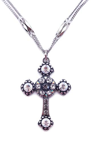 Mariana Ice Swarovski Crystal Silvertone Cross Pendant Necklace Dark Grey Moonlight 512 (Swarovski Flower Ice)