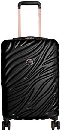 Delsey Alexis Lightweight Luggage Set 3 Piece, Double Wheel Hardshell Suitcases, Expandable Spinner Suitcase with TSA Lock and Carry On Black Rose Gold, 2-piece Set 21 25