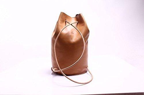 Dark Beige Leather Handmade Backpack by AnyLeatherDesigns