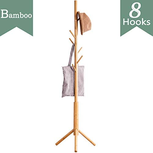 FILWH Bamboo Free Standing Coat Rack Stand, Adjustable Coat Tree with 3 Sections 8 Hooks, Easy to Assemble Coat Hanger Stand for Bedroom, Office, Hallway, Entryway, Bedroom, Natural