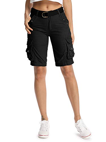 Mesinsefra Women's Cotton Relaxed Fit Casual Multi-Pocket Bermuda Cargo Shorts Black 32-US 10-12