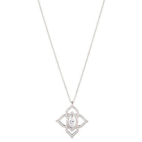 Carolee Women's Crystal Bouquet Women's Open Clover Pendant Necklace 16 inches, Silver/Crystal