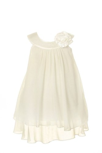 Kid's Dream Satin Bib Neckline & Chiffon A-line Big Girls Flower Girl Dress Wedding White (Length Bib Knee)
