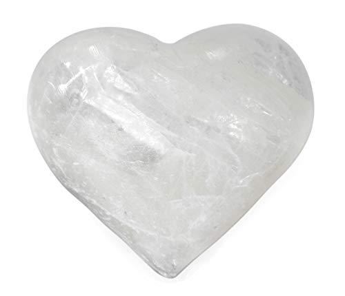 Serene Selenite Puff Heart Figure, 1.75