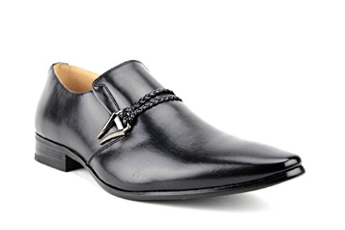 Dress Slip Urban Men's Belted 98105 Loafers Toe Shoes Jazame Pointed Black On xfZz1Sq