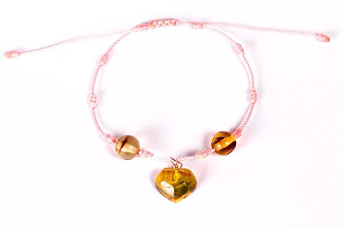 Baby Pink Hand-Knotted Bracelet with Hand Carved Mexican Amber Heart Charm and amber beads for Good Luck and Protection Perfect Gift for ()