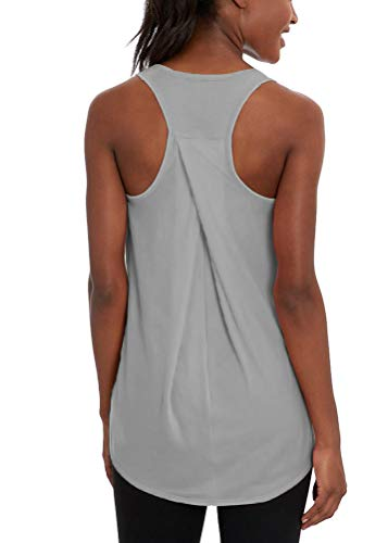 Mippo Women's Racerback Tank Tops Sexy Workout Clothes Athletic Yoga Tops Soft Relaxed Fit Running Muscle Cross Back Tank Top Pleat Plain Gym Exercise Shirts Summer Athletic Clothes Gray L