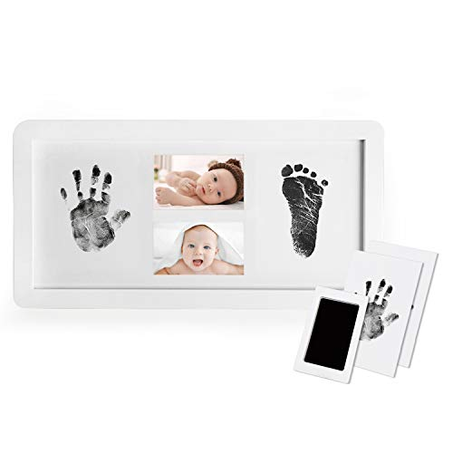 Upala Baby Handprint and Footprint Photo Frame Kit for Newborn Boys and Girls, Babyprints Paper and Clean Touch Ink Pad to Create Baby's Prints, Amazing Baby Shower Gifts