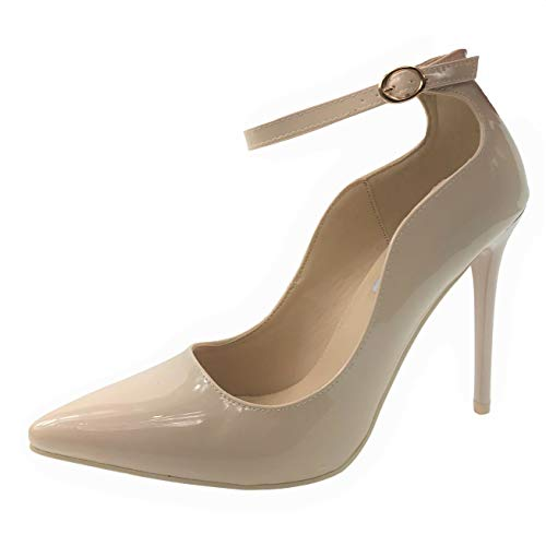 Womens Classic Elegance High Heel Pumps with Ankle Strap, Taupe Pat (Nude), 8