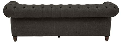 """Amazon Brand – Stone & Beam Bradbury Chesterfield Classic Sofa, 92.9""""W, Pepper"""