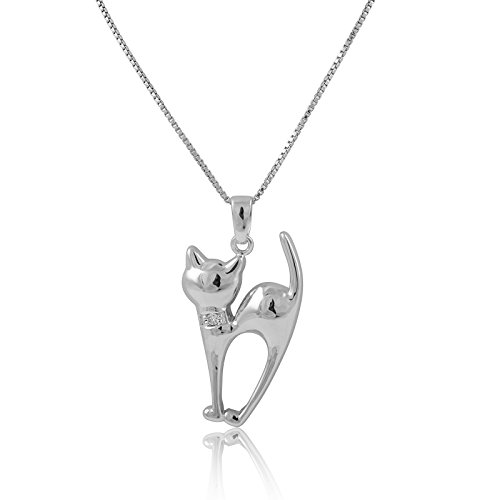 Sterling Silver Siamese Cat Necklace ()