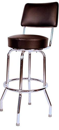 (Richаrdsоn Sеаting Home Decor Swivel bar Stool with Back Chrome Frame and Black Seat, 24