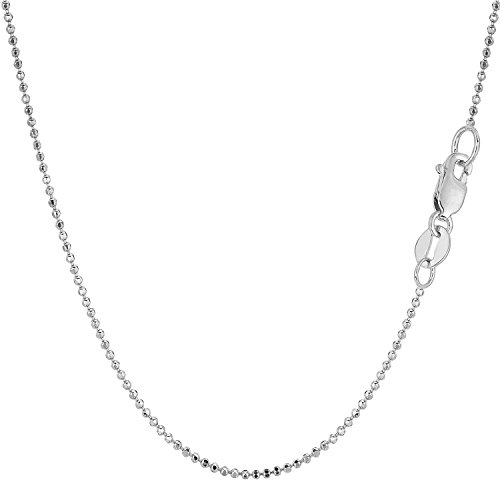 14Kt White Gold 1.5MM Diamond Cut Bead Chain with Lobster Claw Clasp (White Gold Diamond Ball Clasp)