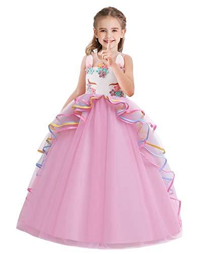 HOIZOSG Meisjes Eenhoorn Verjaardag Carnaval Kostuum Prinses Mouwloos Tule Jurk Halloween Kerstfeest Optocht Lange…