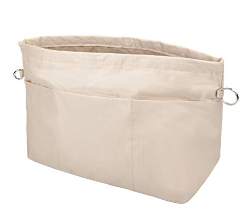- Vercord Handbag Purse Tote Pocketbook Organizer Insert Zipper Closure 11 Pockets, Beige S