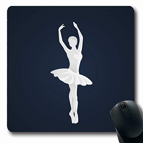 (Ahawoso Mousepads Flat Athlete Ballet Dancer Sports Recreation Balance Ballerina Slippers Black Design Classic Oblong Shape 7.9 x 9.5 Inches Non-Slip Gaming Mouse Pad Rubber Oblong Mat)